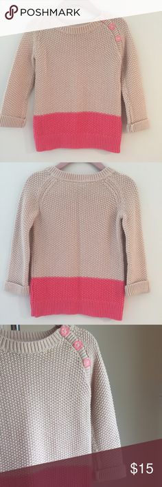 Baby GAP Color Block Tunic Sweater Baby GAP Color Block Tunic Sweater in Pink and Cream. Decorative button detail. 100% Cotton. Gently used and in Excellent Condition. GAP Shirts & Tops Sweaters