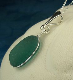 Gorgeous Wire Wrapped Teal Sea Glass Necklace by seaglassgems4you, $70.00
