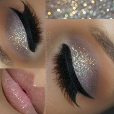 cool-toned silver glitter on the lid, mauve-y taupe crease, black winged liner, glossy pink lips @theamazingworldofj #makeup #eyeliner #eye