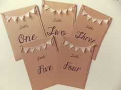 Table Number Card, Wedding Table Number, Bunting, Rustic Wedding, Lace Bunting
