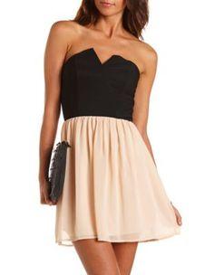 color block 2-fer tube dress Charlotte Russe for homecoming