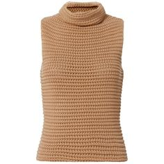 Intermix Women's Gilbert Sweater Gilet ($245) ❤ liked on Polyvore featuring tops, sleeveless tops, high neck top, beige top and high neck sleeveless top