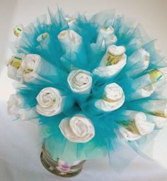 It's A Boy: 7 Centerpieces For Your Baby Shower including 40 Diapers - Bouquet Baby Shower Centerpiece