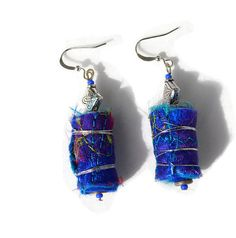 BOHO TEXTILE EARRINGS  embroidered blue beaded by HeketDesigns