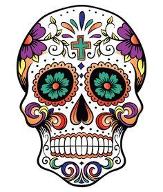 ▷ 1001 + Ideen und Bilder zum Thema Totenkopf Tattoo Skull with a small green cross and big and small violet and green flowers – mexican skull tattoo Mexican Skull Tattoos, Sugar Skull Tattoos, Sugar Skull Art, Mexican Skulls, Sugar Skulls, Calaveras Mexicanas Tattoo, Calavera Tattoo, Skull Coloring Pages, Totenkopf Tattoo