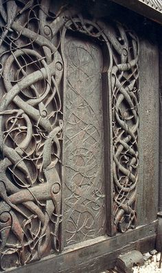 Carved door at Urnes Stave Church, Norway - c.1050-1070.