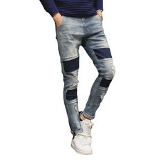 16d748429ca New Fashion Ripped Men Jeans Black Blue Stretch Mens Denim Pants Korean Style  Slim Fit Casual Male Trousers Plus Size 40-in Jeans from Men s Clothing ...
