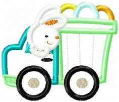 Easter Boy Truck Embroidery Design Applique- $2.50