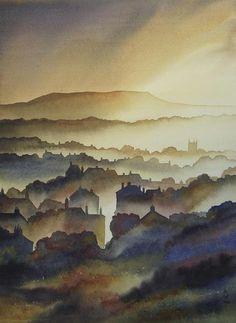 Ian Scott Massie, Masham artist. View of Askrigg in Wensleydale. #fineart #yorkshire #watercolorarts