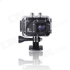 Evoplus Mirage Waterproof 1080P 1.5 LCD 2/3 CMOS 12MP Wide-Angle Anti-Shake Sports Camera - Black
