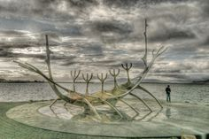 Sun Voyager (Icelandic: Sólfar) is sculpture by Jón Gunnar Árnason (1931 - 1989) on the waterfront in Reykjavik Iceland. HDR image. Photo by Sparky Stensaas www.ThePhotoNaturalist.com