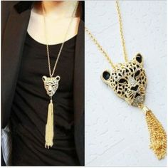 Fashion 2014 Lion Head Long Tassel Necklaces Pendants for Women
