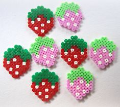 Kawaii Cute Hama/Pearler Strawberries by EtsyPelemele