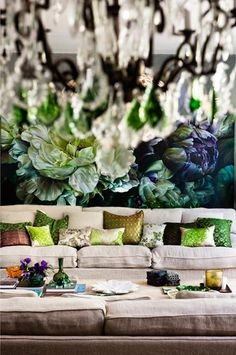 wall treatment makes for an interesting room....I love this look
