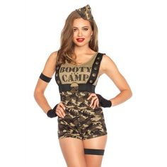 Booty Camp Cutie Women's Sexy Military Romper - Imaginations Costume & Dance