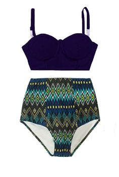 Navy Blue Underwire Midkini Top and Tribute Aztec by venderstore