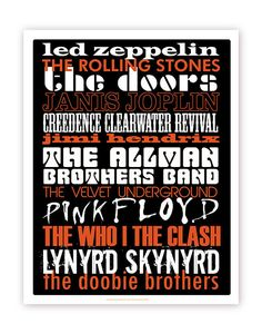 Rock Bands Typography Poster