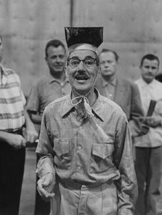Groucho Marx in rehearsal (for something) in 1960 - photo by Allan Grant  -- with Groucho, no telling what that was on his head!