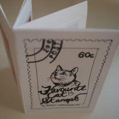 Favourite cat stamps art zine by sardonicsmile on Etsy, $1.50