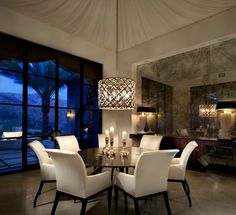 Contemporary Dining Room with IRONIES 560 ASILAH CHANDELIER, POTTERY BARN COMFORT SQUARE UPHOLSTERED ARM CHAIR, High ceiling