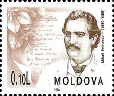 Mihai Eminescu. Poet (1850-1889) Poet, Mail Art, Postage Stamps, Literature, Around The Worlds, Romania, Countries, Coins, Teaching
