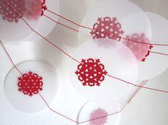 Christmas Garland  Snowflake Garland  Red Winter by ArtsDelight, $9.00