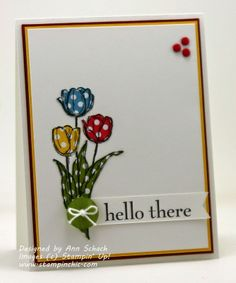 The Stampin' Schach, Ann Shach, like the paper piecing polka dots - different colors - on the flowers and the button.  :)