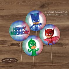PJ Masks Cupcake Toppers Instant Download by BlakedPotatoPress