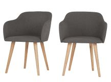 2 x Stig Low Back Dining Chairs, Manhattan Grey and Oak