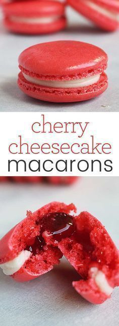 Cherry Cheesecake Macarons are the perfect addition to and party dessert table that needs a pop of color and classic flavor. Download this recipe and the Macaron Tips, Tricks & Troubleshooting Guide and be a macaron superstar! #macaron #recipe #cheesecake