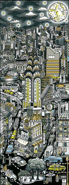 """Moonstruck Over Manhattan  6.5"""" x 15"""" Fazzino"""