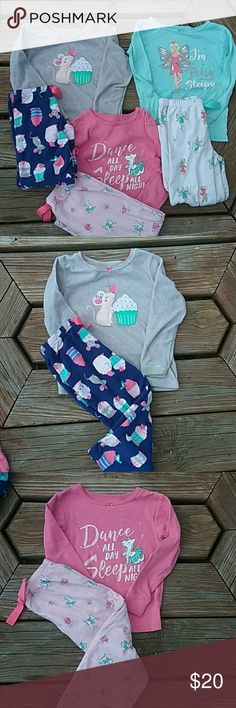 Carter's 4t pajama lot. All 3 long sleeve. Fleece bottoms. 1 fleece top. Other 2 are cotton. Good Condition. Fairy set has small stain on top right shoulder and left knee. Carter's Pajamas Pajama Sets