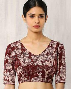 1912a1808e6ff Buy Brown Indie Picks Kalamkari Print Back Open Blouse