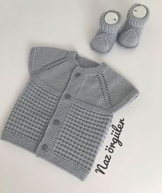 Great Baby Vest Cardigan Knitting Models From Each Other - Ideas & Thoughts Baby Knitting Patterns, Baby Sweater Knitting Pattern, Easy Crochet Patterns, Crochet For Kids, Crochet Baby, Knit Crochet, Cardigan Bebe, Baby Cardigan, Baby Vest