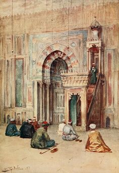 Tyndale, Walter (1855-1943) - Below the Cataracts 1907, The sanctuary in the mosque of Sultan Hasan. #egypt