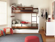 Modern bunk bed plans Bunk beds are a double design whammy when it comes to kids rooms They encourage imaginative play and save space in one fell swoop Girls Bunk Beds, Adult Bunk Beds, Kid Beds, Bunk Beds With Stairs, Cool Bunk Beds, Loft Beds, Trundle Beds, Contemporary Bunk Beds