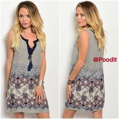"""NEWcute print dress SMALL or MEDIUM Super cute print dress  Tassel self tie accent at lower neckline   Small bust 34 Medium bust 36  100% rayon  Not lined but is not see through  Front length shoulder down 30"""" Back length shoulder down 31""""  NWT  excellent quality   PRICE IS FIRM UNLESS BUNDLED WITH ANOTHER REGULAR PRICED ITEM    ❤️DO NOT BUY THIS LISTING COMMENT SIZE AND I WILL CREATE ONE FOR YOU❤️ Dresses Mini"""
