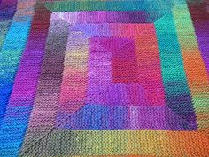 """Noro Knitted Rainbow blanket..I'd make it with softer yarn, Universal...the """"ten stitch"""" afghan"""