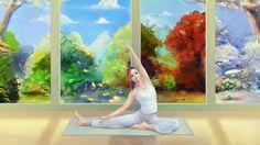 art girl pattern yoga summer views mat autumn seasons winter spring