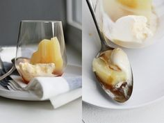 Pears poached in caramel fennel syrup
