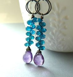 Purple Amethyst briolette with neon teal blue Apatite in oxidized sterling silver.  Available on Etsy.