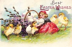 Easter-Little girl with basket and chicks