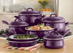11-Piece Non-stick Enamel Cookware from Ginny's ® @Sarah Chintomby Watkins  thought of you when I saw this!!!