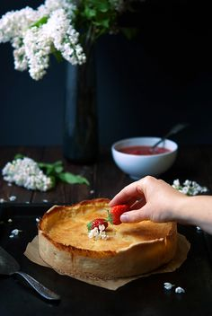 Vegan Cheesecake with Rhubarb and Strawberry Compote | Love Nonpareille
