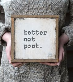 #Christmas Wall Art Print, Better Not Pout Sign, Shabby Chic…