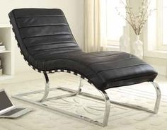 Black Faux Leather Metal Chaise