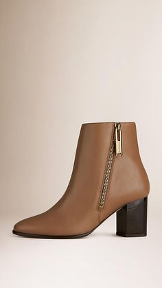 d069569a1f7b Burberry Camel Zip Detail Leather Ankle Boots - Smooth leather ankle boots  with side zip closure