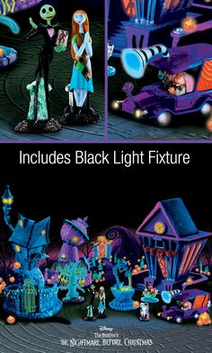Just flip the switch and be transported to the weird and wonderful world of Tim Burton's The Nightmare Before Christmas Black Light Village Collection. Each unique issue conjures up all of your Halloween Town favorites to create an instantly-impressive Halloween decorating arsenal.