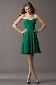 A Line Strapless Sweetheart Short Emerald Green Chiffon Draped Chiffon Party Bridesmaid Dress Sash