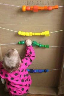Giant abacus in a cardboard box for counting and addition fun! I was thinking this could be good adapted in an outdoor play area, perhaps between two fence posts? Sensory Wall, Sensory Activities, Infant Activities, Preschool Activities, Sensory Boards, Toddler Play, Baby Play, Kids Outdoor Play, Outdoor Classroom